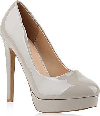 Damen Plateaupumps mit Stiletto Absatz Schuhe 128779 Gold 38 Flandell