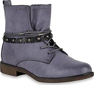 Stiefelparadies Damen Schuhe Schnürstiefeletten Leicht Gefütterte Stiefeletten Metallic 147547 Blau Grau Autol 40 Flandell