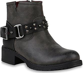 Leicht Gefütterte Damen Schuhe Stiefel Biker Boots Schnallen Stiefeletten 150241 Grau Nieten Agueda Nieten 40 Flandell