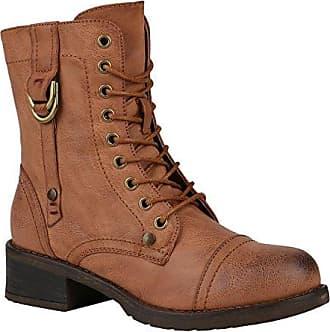 Damen Schuhe Stiefel Leicht Gefütterte Stiefeletten Schnürstiefeletten 148769 Khaki Schnüre Brito 39 Flandell
