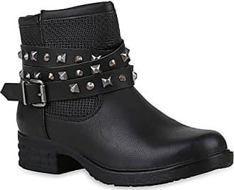 Damen Schuhe Bikerstiefel Leicht Gefütterte Stiefel Biker Boots Nieten 153012 Braun Carlton 37 Flandell