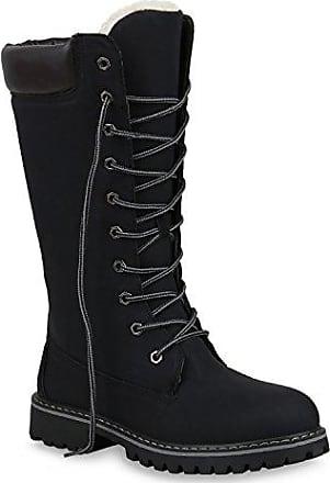 Stiefelparadies Damen Stiefel Worker Boots Profilsohle Schnürstiefel 152558 Schwarz Bernice 37 Flandell