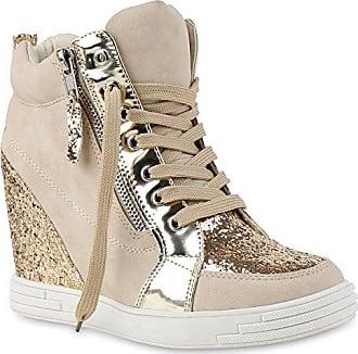 Stiefelparadies Damen Sneaker-Wedges Sneakers Pailletten Sport Keilabsatz Zipper Ketten Schnürer High Top Wedge Sneaker Schuhe 129117 Creme 37 Flandell