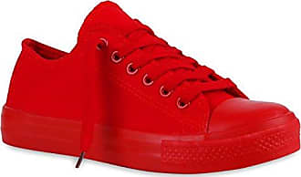 Stiefelparadies Damen Plateau Sneaker Metallic Turnschuhe Nieten Freizeit Schuhe 154437 Rot Autol 37 Flandell