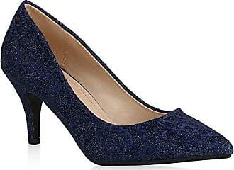 Damen Pumps Schuhe Elegant High Heels Bequeme Blau 37