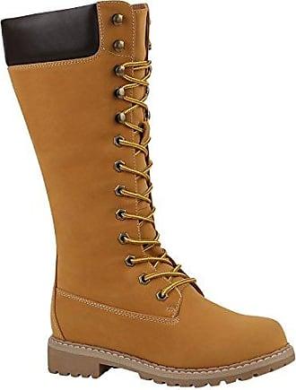 Stiefelparadies Damen Stiefel Worker Boots Profilsohle Schnürstiefel 152559 Hellbraun Bernice 39 Flandell