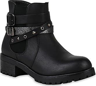 Damen Schuhe Bikerstiefel Leicht Gefütterte Stiefel Biker Boots Nieten 153012 Braun Carlton 38 Flandell