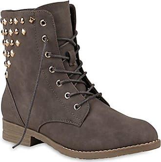 Stiefelparadies Damen Stiefeletten Schnürstiefeletten Worker Boots Zipper Schuhe 144299 Rot Autol 41 Flandell