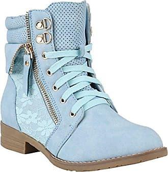 Damen Stiefeletten Worker Boots Leder-Optik Knöchelhohe Stiefel Camouflage Booties Bockabsatz Gr. 36-42 Schuhe 144303 Hellblau 39 Flandell