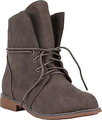 Damen Schuhe Stiefeletten Leicht Gefütterte Schnürstiefeletten Nieten 147982 Grau Arriate 37 Flandell