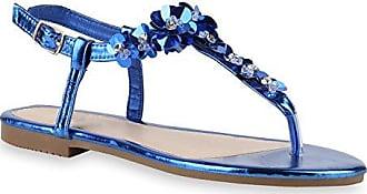Damen Zehentrenner Metallic Sandalen Blumen Lack Sommer Flats Blockabsatz Damen Schuhe 142761 Blau Blumen Strass 39 Flandell