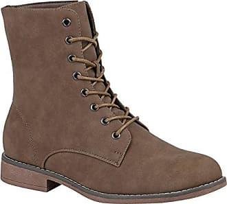 Stiefelparadies Damen Schuhe Schnürstiefeletten Stiefel Gefütterte Fell Stiefeletten 147485 Khaki Brooklyn 37 Flandell