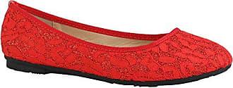 Klassische Damen Schuhe Ballerinas Leder-Optik Modische Schuhe Freizeit 156935 Rot Spitze Glitzer 37 Flandell