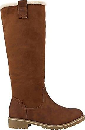 Gefütterte Damen Stiefel Flache Winterstiefel Kunstpelz Boots Schuhe 126975 Braun 37 Flandell