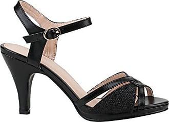 Party Damen Sandaletten High Heels Plateau Sandaletten Strass Nieten Damen Snake Lack Stilettos Schuhe 116926 Schwarz Camiri 38 Flandell