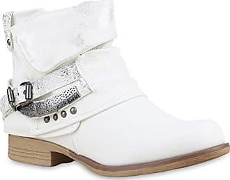 Damen Biker Boots Metallic Details Leder-Optik Stiefeletten Schuhe 148025 Braun Metallic 36 Flandell