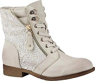 Damen Klassische Stiefel Wildleder-Optik Boots Gefütterte Schuhe 152128 Grau Zipper 39 Flandell