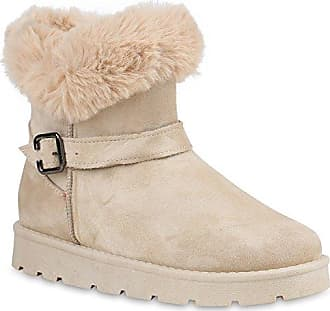Stiefelparadies Warm Gefütterte Damen Winterstiefel Kunstfell Stiefel Profilsohle Schuhe 109821 Taupe Bömmel 38 Flandell