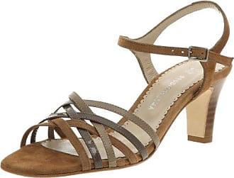 Elite - Sandalias de cuero nobuck para mujer, color marrón, talla 40
