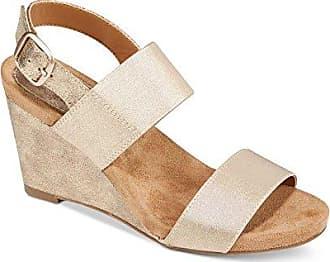 Style & Co. Frauen Offener Zeh Leger Sandalen mit Keilabsatz Gold Groesse 6 US/37 EU