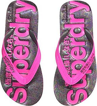 Superdry Printed Cork Flip Flop, Chanclas para Mujer, Multicolor (Fluro Pink/Dark Navy SQ3), 37/39 EU