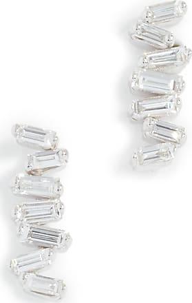 Suzanne Kalan 18k Gold Diamond Zigzag Earrings