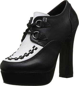 T.U.K. - Zapatos de vestir de cuero para mujer Black-Ivory, color negro, talla 37