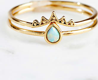 Tai Jewelry 2 Stackable Opal Teardrop Rings Blue 7