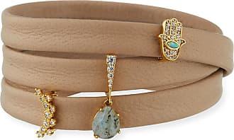 Tai Jewelry Leather Wrap Bracelet with Charms, Beige