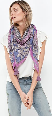 Cotton scarf with tassels purple-pink female Taifun