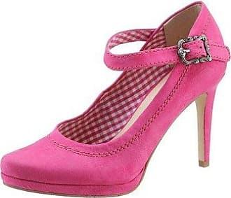 SHOWHOW Damen Nubuk Geschlossen Mary Jane Halbschuh Absatzschuh Pumps Pink 43 EU