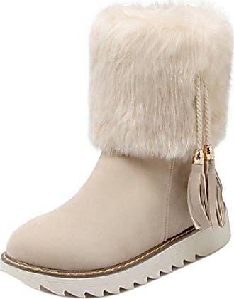 SHOWHOW Damen Gefüttert Schneestiefel Cowboys Worker Boots Khaki 41 EU