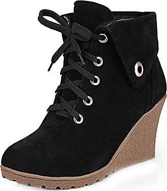 TAOFFEN Damen Mode Party Ankle Boots Kurze Stiefel Mit Blockabsatz Red Size 32 Asian