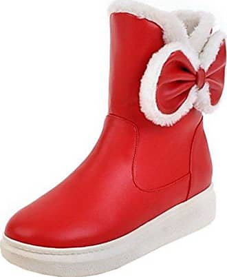 TAOFFEN Damen Mode Dicke Heel Ankle Stiefel Ohne Verschluss Schuhe Red Size 34 Asian