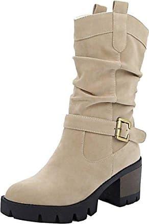SHOWHOW Damen Nubukleder Halbschaft Stiefel Mit Absatz Chelsea Boots Grau 42 EU