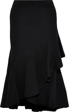 Temperley London Woman Brisé Wrap-effect Ruffled Stretch-knit Midi Skirt Black Size M Temperley London