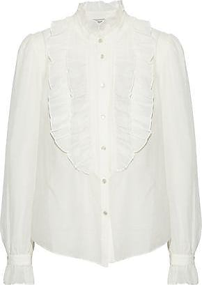 Temperley London Woman Pussy-bow Pintucked Cotton-poplin Shirt Sand Size 14 Temperley London