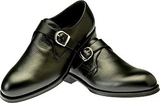 Black Berny Leather Double Buckle Monk Strap Shoes BELSIRE MILANO