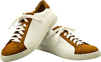 White and Camel Leather and Suede Sneakers BELSIRE MILANO
