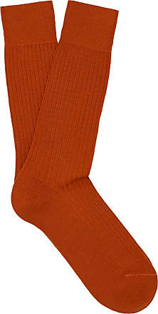 Burnt Orange Ribbed Merino Wool Long Socks New & Lingwood