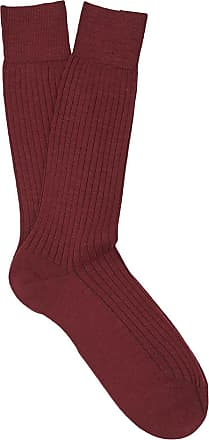 Dark Red Ribbed Merino Wool Mid-Calf Socks New & Lingwood