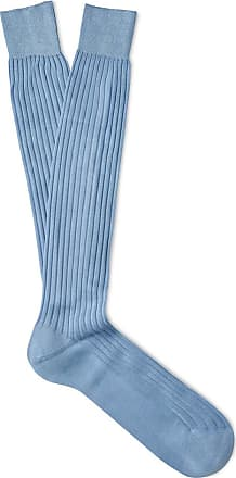 Royal Blue Ribbed Cotton Long Socks New & Lingwood