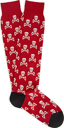 Red and White Skull and Crossbones Cotton Mid-Calf Socks New & Lingwood
