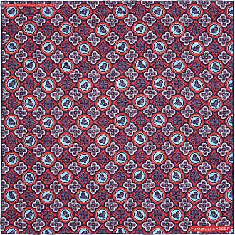 Red and Pink Glory Motif Print Silk Pocket Square Turnbull & Asser