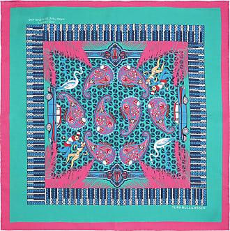Turquoise and Fuchsia Rhythm Paisley Print Silk Pockey Square Turnbull & Asser