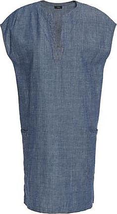 Theory Woman Cotton-chambray Mini Dress Mid Denim Size XS Theory
