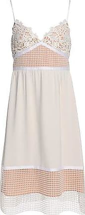 Theory Woman Paneled Guipure Lace, Crochet And Crepe Dress Off-white Size 12 Theory