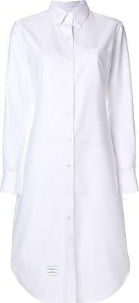 Button Down Sleeveless Shirt Dress With Grosgrain Placket - Nude & Neutrals Thom Browne