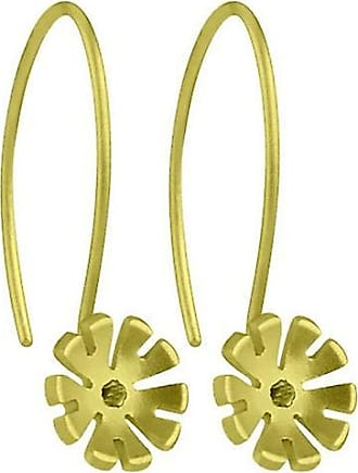 Ti2 Titanium 8mm Four Petal Flower Drop Earrings - Lemon Yellow