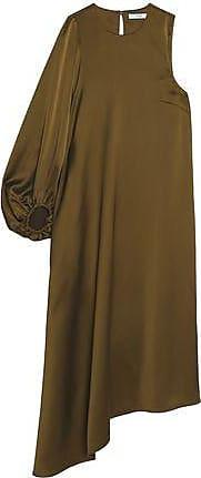 Tibi Woman Asymmetric Gathered Satin-crepe Midi Dress Army Green Size 4 Tibi